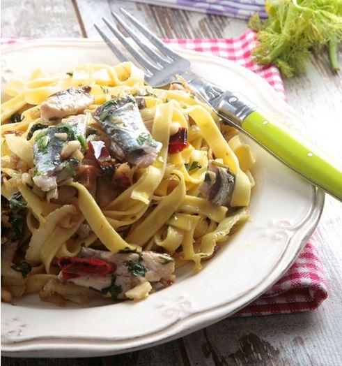 Receta cintas con sardinas y aceite de oliva virgen extra aove ybarra ybarra en tu cocina - Judias verdes ybarra ...