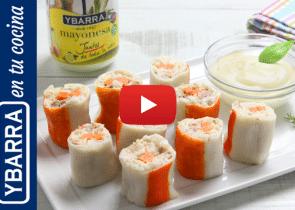 Rollitos de arroz y cangrejo con mayonesa Ybarra