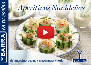 aperitivo navideo langostino pepino y mayonesa