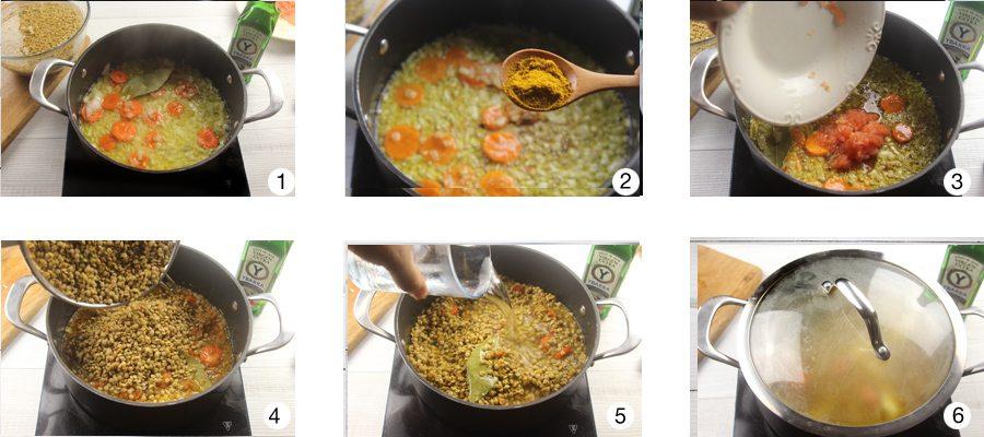 lentejas al curry pasos