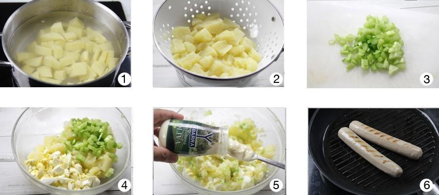 salchichas alemanas con ensalada de patatas y mayon esa ybarra