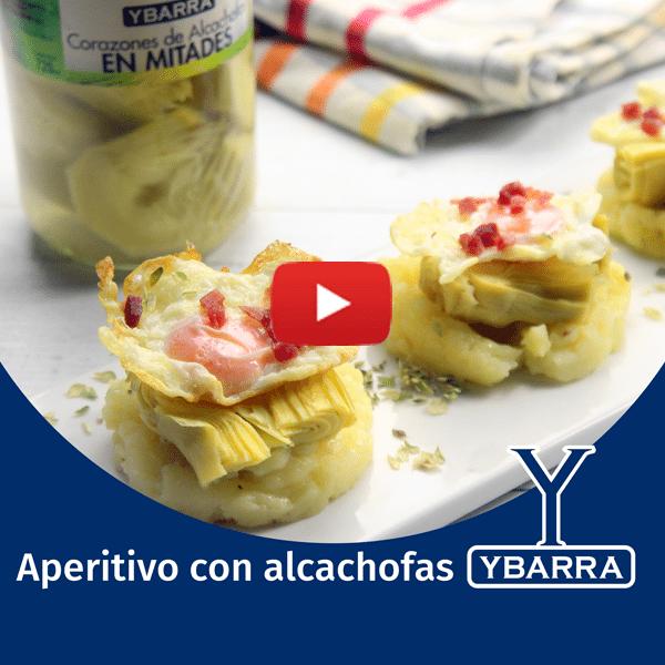 Aperitivo con alcachofas y patatas Ybarra