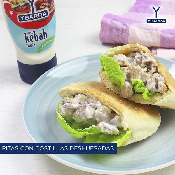 Pitas con costillas y salsa Kebab Ybarra