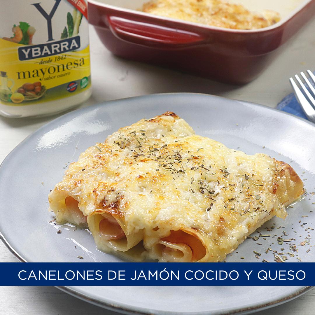 Canelones de jamón cocido y queso