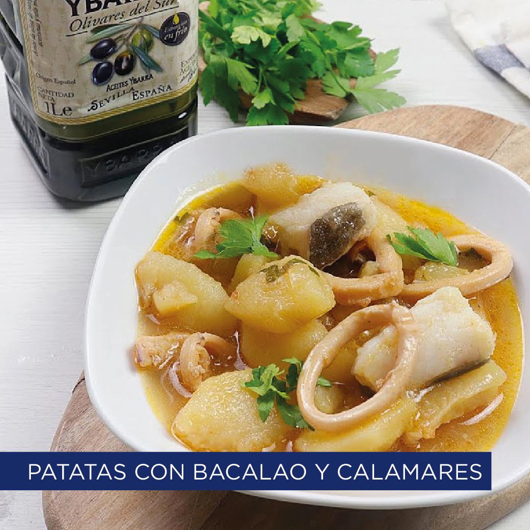 Patatas con bacalao y calamares