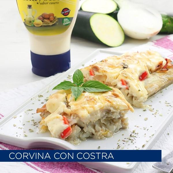 Corvina con costra de mayonesa y verduras