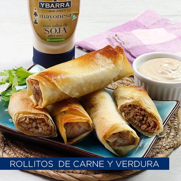 Rollitos de carne y verduras con mayonesa con salsa de Soja Ybarra